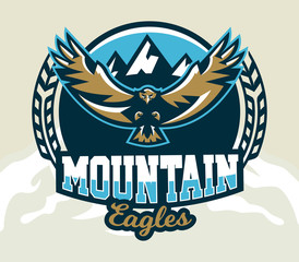 Logo, emblem of an eagle flying. Mountains, rocks. Badges shield, lettering. Vector illustration.