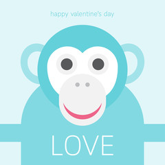 Cute monkey cartoon with love for valentine's day card.