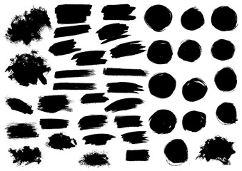 Black watercolor paint marker vector strokes blobs