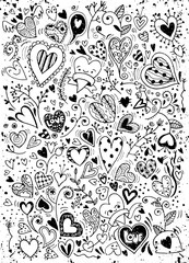 sketchy love and hearts doodles, vector illustration