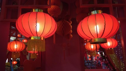 Red Lantern Hang on Ceiling