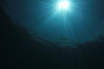 Underwater ocean background with sunlight