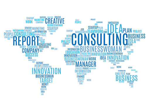 Cloud tags of marketing business words world map