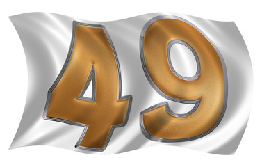 In the wind fluttering the flag with numeral 49, forty nine, iso