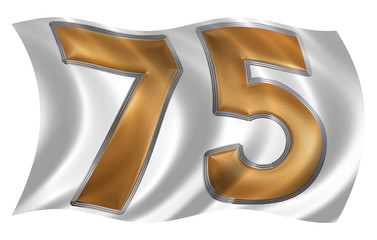 In the wind fluttering the flag with numeral 75, seventy five, i
