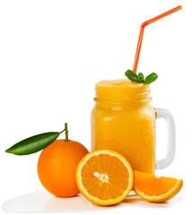 Wall Mural - Jar mug with orange smoothie.