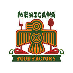 Mexican restaurant vector isolated aztec bird icon