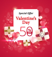 Valentine's day special offer 50% off design on pink background