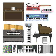 Keyboard musical instruments vector illustration.