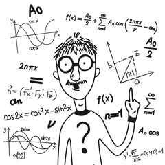 Vector illustration. Cartoon character and mathematical symbols.