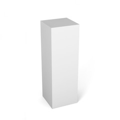 Close up of a white box template on white background.3D Illustration