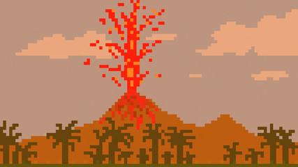 pixel art volcano
