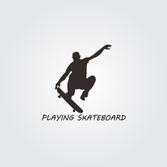 man playing with skateboard logo
