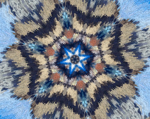 Abstract extruded mandala with blue, brown, white, orange
