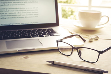Pen and glasses with laptop.Inspiration moment,workspace or coff