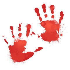 Red bloody hand prints with splashes. Vector element for your creativity