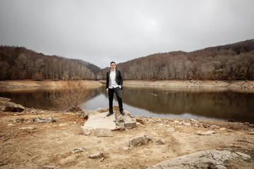 Portrait of Groom on Lake