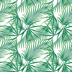 Seamless tropical floral pattern,  green leaves on a white background.