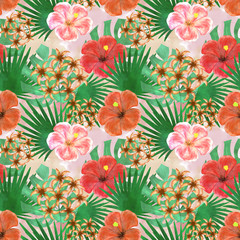Seamless tropical floral pattern, pink , red flowers, green leaves on a light background.