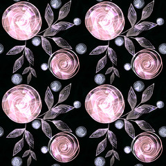 Seamless floral pattern, pink  flowers, grey  leaves on a black background.