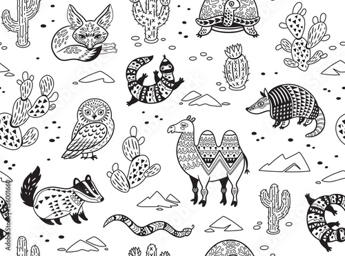 Line Drawing Of Desert Animals : Quot seamless pattern with desert animals in monochrome tyle