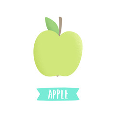 Hand drawn apple isolated on white. Vector illustration