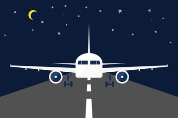 Front View of An Aircraft, Night