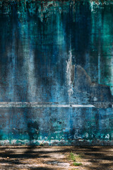 grunge wall background vintage style , green and blue colors .