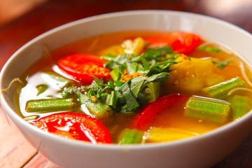 asian vegetable soup in bow