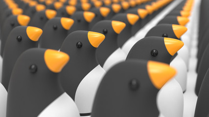 Group of penguins as a mascot pet toy, 3D rendering concept