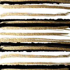Grunge futuristic background drawn by brush. Gold paints and black ink create abstract striped pattern.