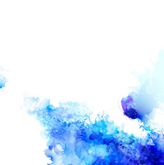Fototapete - Abstract background with blue composition of watercolor blots and cyan butterfly.