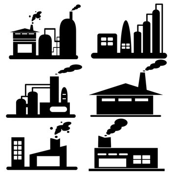 Icon set.Industrial building factory.