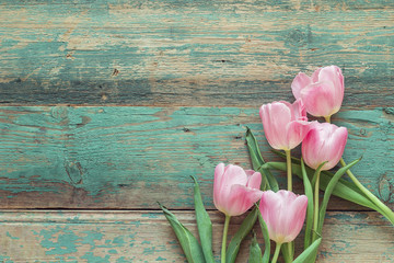 Background with bouquet of pink tulips on blue grunge wooden boa