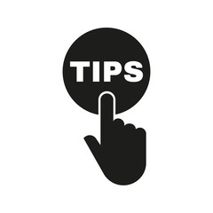 """Hand pressing a button with the text """"TIPS"""" icon. Support, assistance symbol. Flat design. Stock - Vector illustration"""