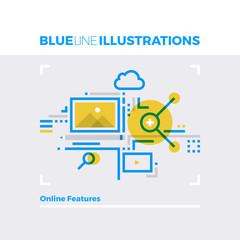 Online Features Blue Line Illustration.