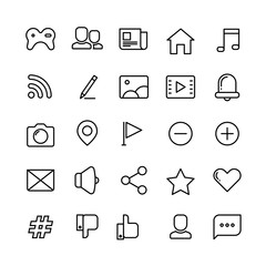Wall Mural - Web, social network, media and communication thin line vector icons
