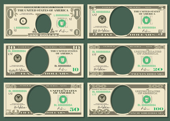 Dollar currency notes vector money templates