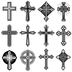 Catholic christian cross with ornament vector icons set