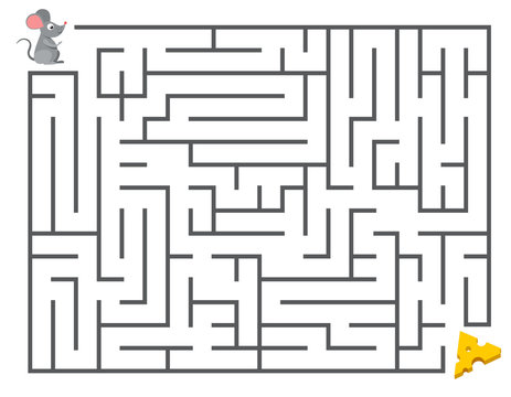 Cute mouse searching cheese. Kids maze puzzle, labyrinth vector illustration
