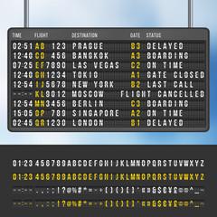 Airport flip arrivals information scoreboard vector mockup