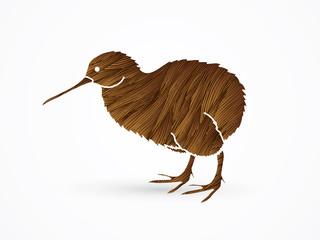 Kiwi bird designed using brown grunge brush graphic vector.