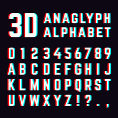 Stereoscopic Stereo 3d Vector Letters And Numbers Colorful Glitch