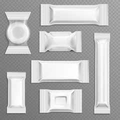 White empty bar polyethylene wrapper packaging, isolated candy package vector set
