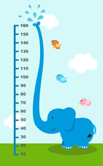 Meter wall with elephant.illustration.