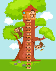 Meter wall with tree house.illustration.