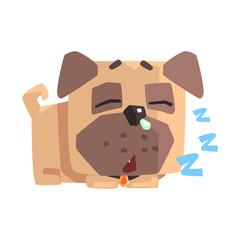 Little Pet Pug Dog Puppy With Collar Sleeping Emoji Cartoon Illustration