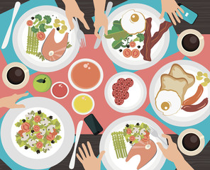 Cooking flat icons with table of dishes and people hands. Vector illustration