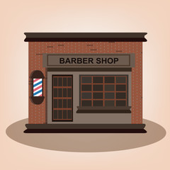 Barber vintage shop old building facade icon retro style.