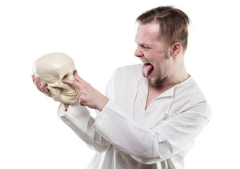 Comical man with human skull